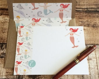 Sea Tales - Monogram E Note Card Set with Hand Lined Kraft Envelopes | teacher's gift, personalized initial stationery, mermaid lovers