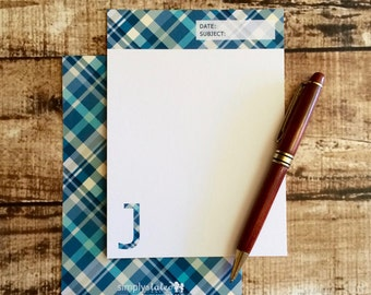 The Trendy Tartan - Monogram Note Card Set with Hand Lined Envelopes | mens stationery, preppy personalized initial stationery, mens notes
