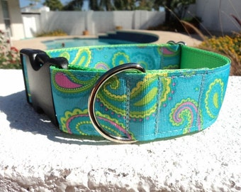 "Sale Large Dog Collar Paisley Turquoise 1.5"" wide Quick  Release buckle - martingale style is cost upgrade"