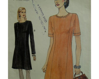 Princess Seamed Dress Pattern, Jewel Neck, Semi-Fitted, Long/Short Sleeves, Vogue No. 9166 UNCUT Size 14 16 18
