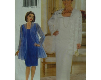 Plus Size Fitted Cocktail Dress Pattern, Sheer Overblouse, Scoop Neck, Sleeveless, Long/Short, Butterick No. 5319 UNCUT Size 14W 16W 18W