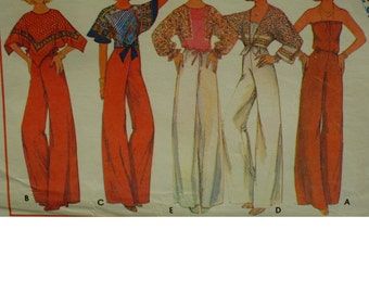70s Boho Jumpsuit Pattern, Hankerchief Scarf Top, Strapless Jumpsuit, Poncho, Kimono Sleeves, Tie Waist, McCalls 5401 Size 10-12 OR 14-16