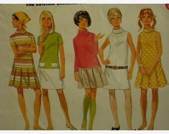 """60s Low Waist Dress, Pleated Skirt, High Neck, Short/Long Sleeves, Butterick No. 4900 Size 11/12 (Bust 32""""81cm)"""