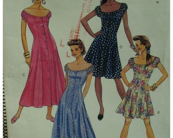 Off Shoulder Culotte, Dress Pattern, Button Front, Cap Sleeves, Princess Seams, Flared Skirt, McCalls No.6513 Size 4 6 8