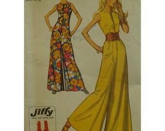 "70s Petite Jumpsuit Pattern, Zipper Front, Sleeveless, Wide Legs, Jewel Neck, Simplicity No.9370 Size 10 Petite (Bust 32.5"" 83cm)"