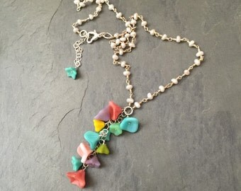FLOWER BOUQUET NECKLACE on PEARLs