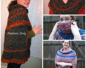 PDF Crochet Pattern Unique Crochet Cowl Poncho with Ponchette Pattern Bonus