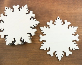 """6 Snowflakes 4 1/2"""" Unfinished Wood Ornaments 6 Pieces Laser Cut"""