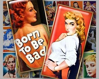 1x2 Digital Printable Domino Art BAD GIRLS collage sheet for Pendants Magnets Crafts...Vintage Movie Poster Art Pulp Art