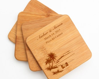 Personalized Coasters, Custom Engraved Bamboo Coaster, Palm Trees, Beach, Personalized Coaster Set, Personalized Wedding Gifts, Bridal D33