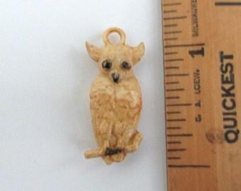 Celluloid OWL Pendant / Large Charm - Vintage