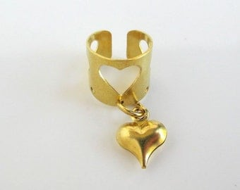 2 Solid Brass Ear Cuffs - Cut Out Hearts w/ Puffy Heart Dangle Cuff Earrings