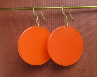 Orange Earrings - Vintage Plastics / Bakelite, Large w/ Brass Hardware