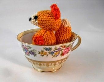 Hand Knit Orange Fox Plush READY TO SHIP