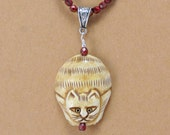Carved Bone Cat and Knotted Bead Necklace