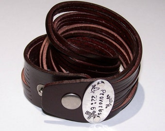 Personalize - Your Choice of Words - Multi Strand Wide Leather Cuff Bangle Bracelet - Hand Stamped - Metal Stamped - Adjustable Snap