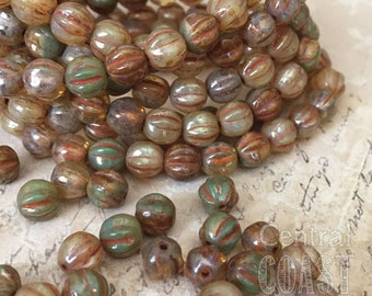 6mm Czech Pressed Glass Picasso Fluted Melon Bead Spacer (25) Bohemian Gypsy Luxe Champagne Turquoise Opalite Mix - Central Coast Charms