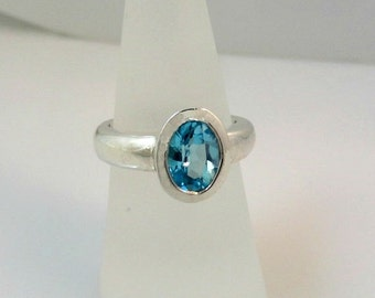 Blue Topaz Oval in Cast Sterling Silver Ring
