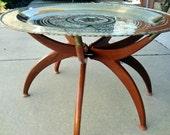 Brass Round Oriental Mid Century Modern Spider Base Table, Round Brass Table