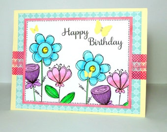 Happy Birthday Greeting Card - Hand Stamped Floral Handmade Paper Card for Her with Coordinating Embellished Envelope
