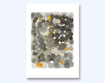 Watercolor print black yellow  watercolor Black dots abstract watercolor painting, watercolor print, grey yellow painting