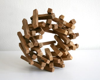SALE Stacked Wood Candle Holder