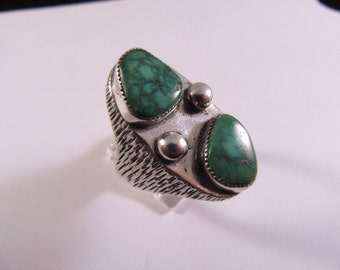1970s Man's Silver and Turquoise Ring