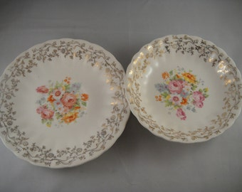 Southern Potteries Dish and Saucer Floral Pattern Gold Trim Scalloped