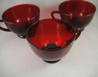 Ruby Red Punch Cups Anchor Hocking Set of 3 Three Replacement Cups