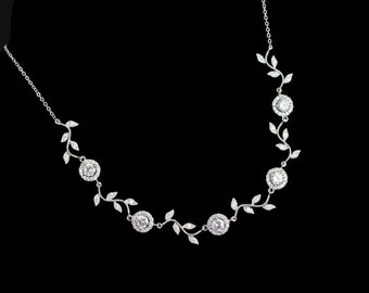 Bridal Necklace, Cubic Zirconia Round Connector and Branch Tree Necklace, CZ Bridal Jewelry, Bridal Bridesmaids Necklace, CZ Wedding Jewelry