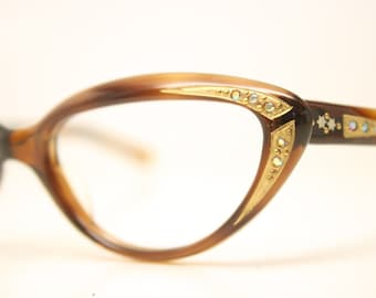 Small Rhinestone Cat Eye Glasses Tortoise Vintage Cateye Frames 1950s Eyeglasses