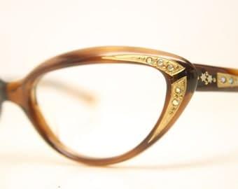 Small Rhinestone Cat Eye Glasses Tortoise Vintage Cateye Frames 1950s Eyeglasses
