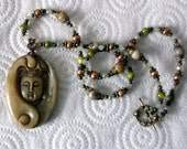 Olive Green Jade Kwan Yin Wire Wrap Pendant with Gemstone Beaded Chain in Antique Bronze Finish
