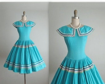 STOREWIDE SALE 50's Patio Dress // Vintage 1950's Turquoise Patio Full Garden Party Summer Dress M