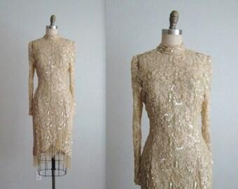 STOREWIDE SALE Lillie Rubin Beaded Dress // Vintage 1980's Lillie Rubin Beaded Cocktail Party Trophy Wiggle Dress S M