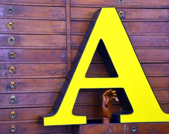 Vintage Marquee Sign Letter Capital 'A': Very Large Yellow Wall Hanging Initial -- Industrial Neon Channel Advertising Salvage