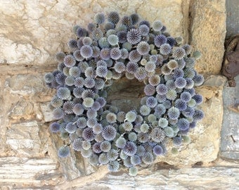 18 inch Blue Globe Thistle Wreath - dried flowers