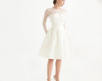 Off-white silk taffeta short wedding dress with sleeves // civic wedding dress // wedding reception dress // Lotta Dress