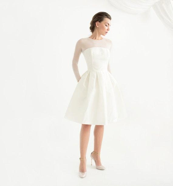 Off white silk taffeta short wedding dress with sleeves like this item junglespirit Images