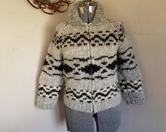 Vintage Beautiful Ladies Small Petite Cowichan Sweater Vintage Ladies Cowichan Sweater Retro Camping RV Outdoors Boho Hippy Sweater