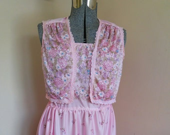 Vintage 1970's Floral Sundress With Bolero