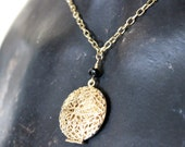 Gold Circle Locket Diffuser Necklace With Black Accent Bead - In Stock!