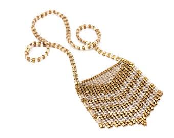 XL Breast Plate Necklace in Bronze & Gold