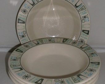 4 Vintage Atomic MidCentury Taylorstone Cathay Cereal Bowls MINT!