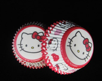 Hello Kitty Cupcake Liners, Hello Kitty Parties, Monster High Cupcakes,  Kids Parties, Baking Cups, Muffin Papers, Cupcake Liners- Qty 25