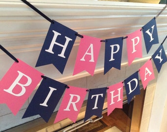 Happy Birthday banner, hot pink and navy colors, ready to ship