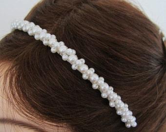 ON SALE Swarovski Pearl Bridal Headband in White or Ivory---Pearl Drops