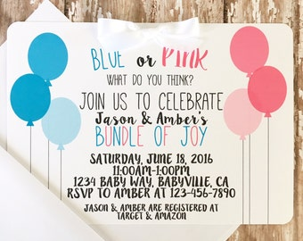 12 gender reveal baby shower invitations, balloon baby shower invite, going to pop baby shower invites, 5x7 size