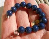 Destash Beads, Dark Blue Stone, Lot of 13 Beads, Slight Sparkle, 8 mm, Sale, Clearance, Bead Destash