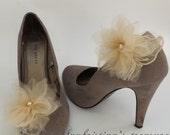 Wedding Shoe Clips Beige/Nude Tulle/Lace flowers